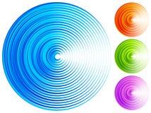 Kolorowi koncentrycznego okręgu elementy 4 jaskrawy, żywy, wibrujący co, royalty ilustracja