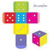 Kolorowi kostka do gry, pudełkowaty szablon royalty ilustracja