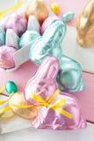 Kolorowi króliki robić od czekolady Zdjęcia Stock