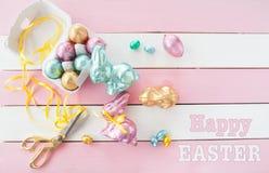 Kolorowi króliki robić od czekolady Fotografia Stock
