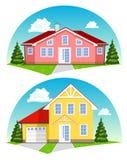 Kolorowi kreskówka domy na białym tle Zdjęcia Stock