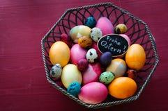 Kolorowi kurczaka i przepiórki jajka Obrazy Royalty Free