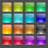 Kolorowi kwadratowi glansowani guziki Obrazy Stock