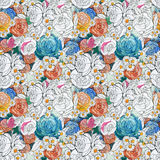 kolorowi kwiaty deseniują bezszwowego Zdjęcia Royalty Free