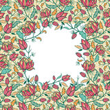Kolorowi kwiaty i liście obramiają bezszwowego wzór Zdjęcie Stock