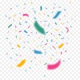 Kolorowi latający confetti w różnej ostrości Świętowanie koloru faborki Festiwalu wystrój z spada błyskotliwością wektor ilustracji