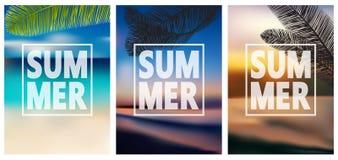 Kolorowi lato sztandary, tropikalni tła ustawiający z palmami, morze, chmury, niebo, plaża royalty ilustracja