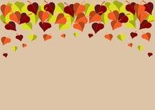 Kolorowi liście dekoruje odgórną krawędź jasnobrązowa lista ilustracja wektor