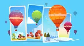 Kolorowi Lotniczy balony Lata W niebie Nad lata I zimy śniegu krajobrazem ilustracja wektor
