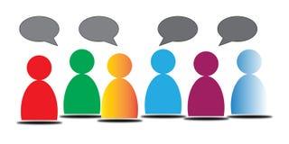 Kolorowi ludzie z rozmowa bąblami Fotografia Royalty Free