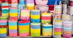 Kolorowi lunchów pudełka obrazy royalty free