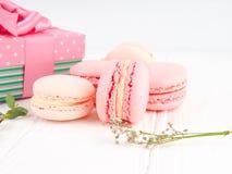 Kolorowi macaroons, Kolorowy francuski deser, tradycyjni francuscy kolorowi macarons w rzędy w pudełku Obrazy Royalty Free