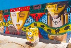 Kolorowi malowidła ścienne w Raquira Kolumbia Zdjęcia Stock