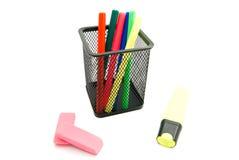 Kolorowi markiery i gumki Obraz Stock