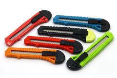 Kolorowi materiałów knifes Zdjęcia Royalty Free