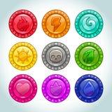 Kolorowi medaliony z natura elementów ikonami ilustracji