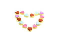 Kolorowi miłość kształta ciastka Fotografia Royalty Free