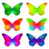 Kolorowi motyle z trójgraniastymi wielobokami Zdjęcia Royalty Free