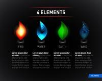 Kolorowi natura elementy Woda, ogień, ziemia, powietrze Infographics elementy na ciemnym tle ilustracja wektor
