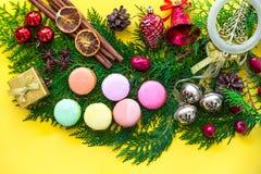 Kolorowi nowy rok Macaroons Zdjęcie Stock