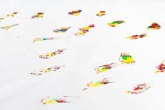 Kolorowi odciski stopy na podłoga Zdjęcia Royalty Free