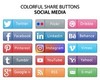 Kolorowi ogólnospołeczni środek części sieci guziki royalty ilustracja