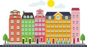 Kolorowi Płascy Mieszkaniowi domy na białym tle Obraz Stock