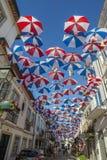 Kolorowi parasole nad ulica w Agueda Fotografia Royalty Free