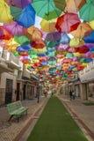 Kolorowi parasole nad ulica w Agueda Obrazy Royalty Free