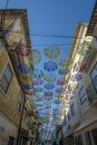 Kolorowi parasole nad ulica w Agueda Obraz Stock