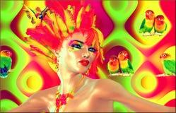 Kolorowi piórka, papugi i moda, Zdjęcia Royalty Free