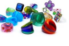 kolorowi pierścionki Obrazy Royalty Free