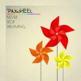 Kolorowi pomarańcze, czerwieni i koloru żółtego pinwheels, Zdjęcie Stock
