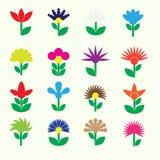 Kolorowi prości retro mali kwiaty ustawiają ikony eps10 Fotografia Royalty Free