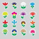 Kolorowi prości retro mali kwiaty ustawiają majcher ikony eps10 Obraz Royalty Free