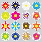 Kolorowi prości retro mali kwiaty ustawiają majchery eps10 Obrazy Royalty Free