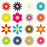 Kolorowi prości retro mali kwiaty ustawiają symbol eps10 Zdjęcia Royalty Free