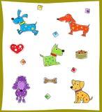 Kolorowi psy Obrazy Royalty Free