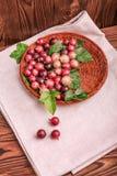 Kolorowi różowi agresty pełno odżywcze witaminy w koszu na szarej tkaninie na drewnianym tle i Zdjęcie Royalty Free