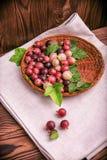 Kolorowi różowi agresty pełno odżywcze witaminy w koszu na szarej tkaninie na drewnianym tle i Zdjęcie Stock