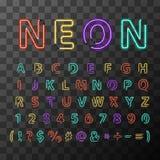 Kolorowi realistyczni neonowi listy, folujący łaciński abecadło na przejrzystym tle Zdjęcie Stock