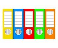 Kolorowi ringowi segregatory na bielu, akcyjna wektorowa ilustracja, offic ilustracja wektor