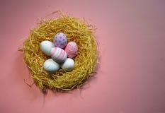 Kolorowi rocznika Easter jajka w gniazdeczku na różowym tle Zdjęcie Stock
