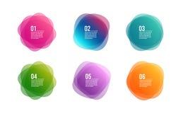 Kolorowi round sztandary Narzuta kolorów kształta sztuki projekt Abstrakta stylu punkty Graficzne etykietki Infographic wektor royalty ilustracja