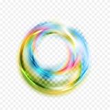 Kolorowi rozjarzeni błyszczący abstraktów okręgi na w kratkę tle ilustracja wektor