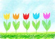 kolorowi rysunkowi tulipany Zdjęcia Royalty Free
