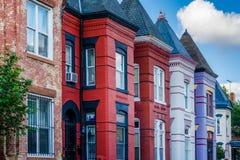Kolorowi rz?d?w domy w Shaw, Waszyngton, DC fotografia royalty free