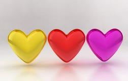 kolorowi serca Zdjęcie Stock