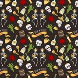 Kolorowi symbole dla Dia De Los Muertos dnia Nieżywego dnia wektorowy bezszwowy deseniowy tło royalty ilustracja