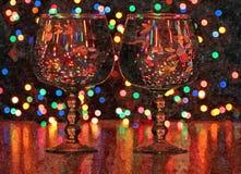 Kolorowi szampanów światła święta bożego życie wciąż Malować mokrą akwarelę na papierze Naiwna sztuka sztuka abstrakcyjna Rysunko ilustracji